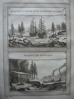 1759 - PREVOST - CANADA NW PASSAGE Engraving HENRY ELLIS 1746 WINTER QUARTERS