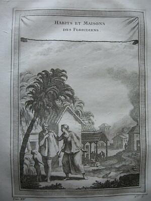 1757 - PREVOST - FLORIDA  Engraving CLOTHES AND HOUSES OF THE FLORIDIANS