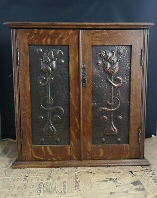 Antique Art Nouveau smokers cabinet, oak and copper