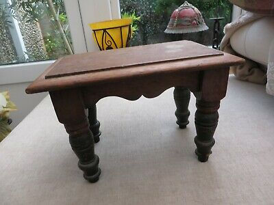 Stunning antique quality wooden stool ornate turned legs pretty