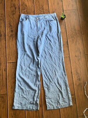 Womens Pants Style Co Size 12 Blue Chambray Wide Leg