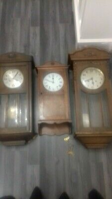 3  Antique wall clocks includes a westminster chime wall clock and  edwardian