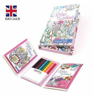 TRAVEL COLOURING SET Book Pencils Relaxing Journey Activity Kids Adults TA6844UK