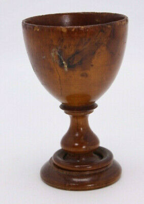 """Treen Antique Small Mini 3 5/8"""" Turned Wood Art Chalice Wine Goblet Puzzle Cup"""