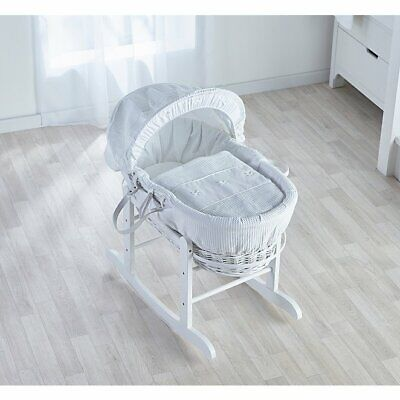 Kinder Valley White Waffle Moses Basket Dressing with Rods.
