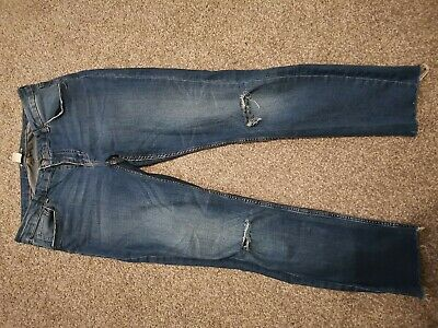 H&M Denim Jeans Size 14 Ripped Knees And Frayed Ankles Soft Fit