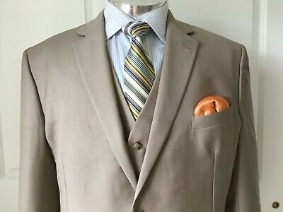 Gucci Made in Italy Superfine Wool Three-Piece Tan Solid Slim Fit Suit, size:48R