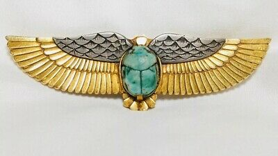 "Antique 14k Art Deco Egyptian Revival Carved Jade Scarab Pin Brooch Approx 3""x1"""