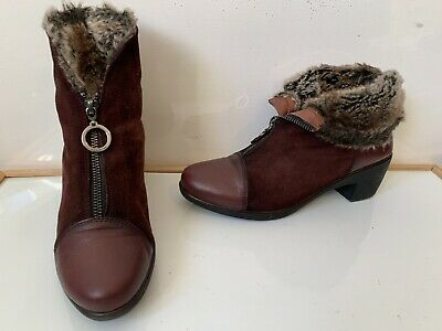 Hispanitas Comfy Leather Fur Boots Size UK 5 EU 38 in very good condition