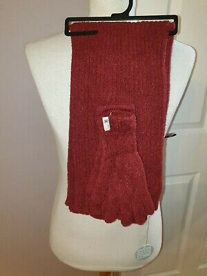 Bnwt Ladies Ultra Soft Joules Scarf And Gloves Set In Pegal Red Rrp £39.95