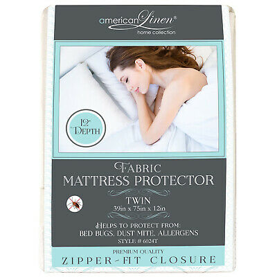 Mattress Cover Protector Waterproof Brushed Fabric Quilted Twin Size Bed Cover