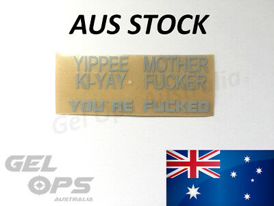 Yippee Kiyay Metal sticker set decal white customise gel blaster upgrade m4a1