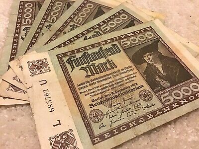5 X Germany Banknotes. 5000 Mark. Reichsbanknote. Dated 1922.