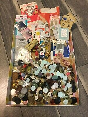 Lot- Vintage Sewing Items - Buttons, Thimbles, Needles And More