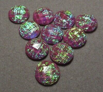 10 x 12 mm 'MAUVE Opal Facet' Flat backed Acrylic Cabochons      (z518)