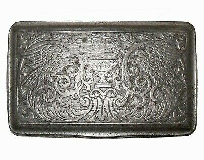 18Th C Antique English Hinged Pewter Snuff Box, W/Eagles/Roses & Classical Urn