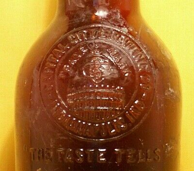 CAPITAL CITY BREWING Co Indianapolis 24oz Embossed Glass Beer Bottle Unknown Age