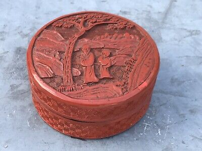 Antique Chinese Carved Round Red Cinnabar Box Vintage Figures Trees
