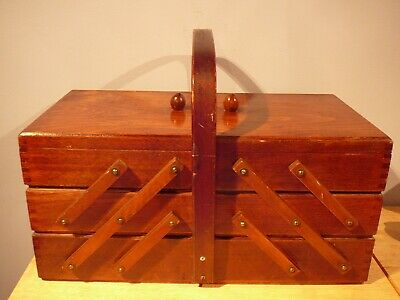 Vintage Wood Sewing Box Accordion style with legs