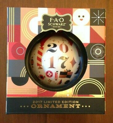 Fao Schwarz Holiday Ornament 2017 Limited Edition, White 2017 & Candy Face, NIB