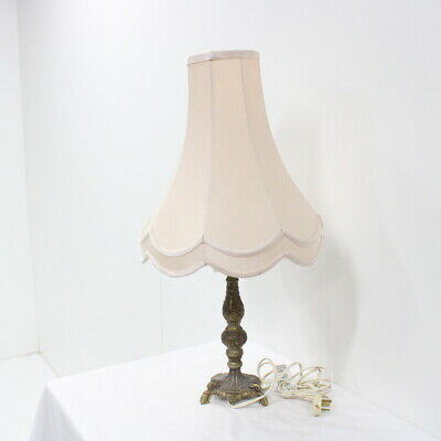 Brass Embossed Lamp with Elegant Pale Rose Shade #460