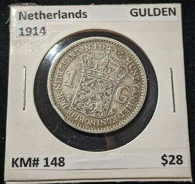 Netherlands 1914 GULDEN KM# 148