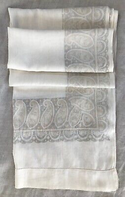 ANTIQUE STOLE / SHAWL: FINE SOFT SILK VOILE PAISLEY SCREEN PRINT 240cm / 94 ""