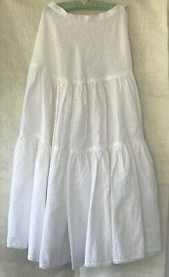 "ANTIQUE LONG PETTICOAT, WHITE COTTON waist 24.5"" / 62 cm"