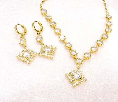 Dangle Earrings Necklace Set 14K Yellow Gold Plated Clear Simulated Diamonds UK