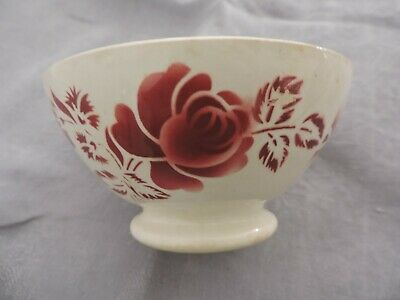 Bol ancien faïence Digoin France  fleur rose au pochoir cuisine french old bowl