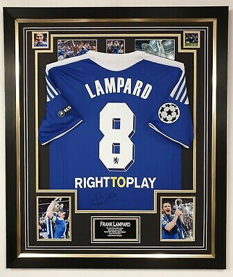 Frank Lampard Signed Chelsea Shirt Autographed Jersey Display CHAMPIONS LEAGUE