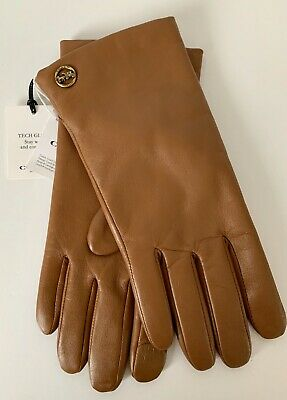 NWT Coach Ladies Sheepskin Leather Tech Gloves Lined F76310 Size 7 RP $148