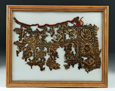 Framed Large Egyptian Coptic Textile Fragment
