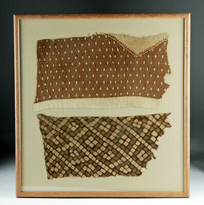 Lot of 2 Framed Chancay Textile Fragments