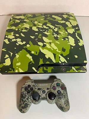 Playstation 3 Sony PS3 Slim Console Bundle Army Camo Bundle Controller Complete