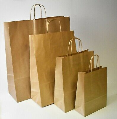 Strong Brown Twisted Handle Paper Bags Plain Carrier Twist Gift Fashion Party