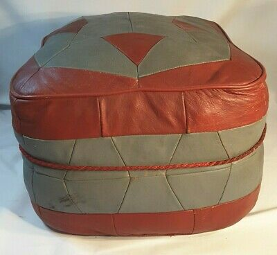 Vintage Retro Pouffe Foot Rest Foot Stool Red & Grey 1960'S 70'S