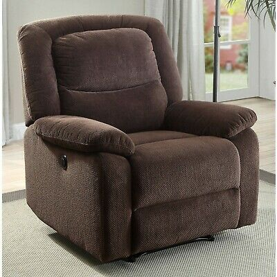 Push Recliner Chair Body Cushions Brown Leather Lazy Furniture Ultra Comfort
