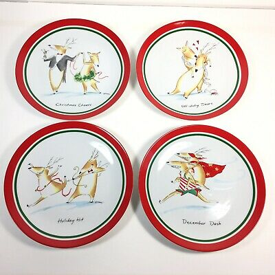 "Mud Pie 8"" Dessert Funny Christmas Plates in Off-Duty Reindeer Pattern Set of 4"