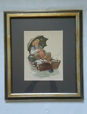 Norman Rockwell Print Framed Art Golden Days 1972 Wall Decor Collectible Vintage
