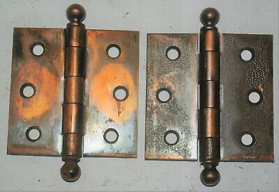 Pair Vintage Copper Washed Jappaned Flash Hinges Cannonball Pin Ends Used