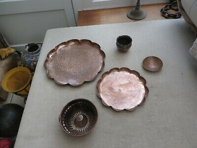 5 pieces of Arts & Crafts Hayle copper some handmade 2 chargers jelly mould etc