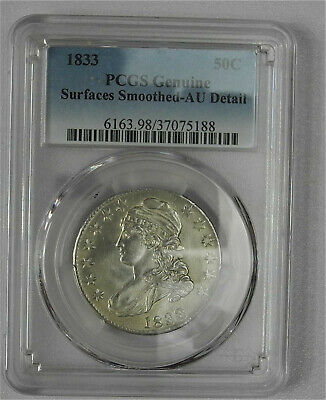 1833 Half Dollar 50C Silver --Surfaces smoothed -- AU Details PCGS Genuine