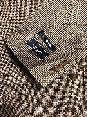 NWT Chaps Mens Sport Coat Silk & Wool Gray Base Size 46L