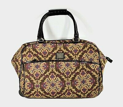 Vintage Liz Claiborne Travel Bag 1976 Tapestry With Handle and Wheels