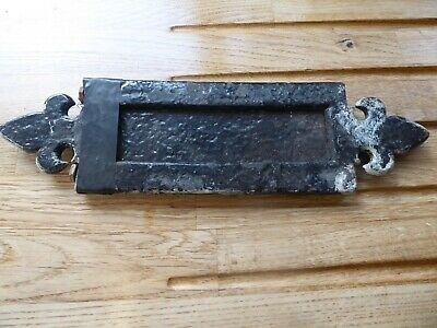 Vintage cast letterbox flap for door/wall house good size - nice shaped ends