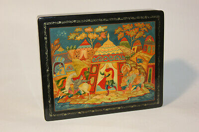 vtg LG Russian hand painted lacquer box - PALEKH - USSR 87 - signed & Paperwork