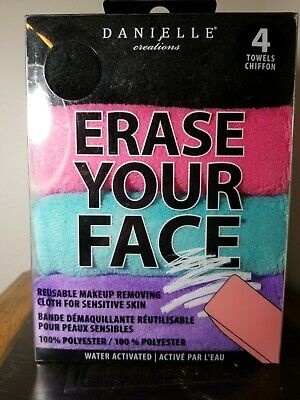 4 pack Danielle Creations, ERASE YOUR FACE, Makeup removing cloths, washable