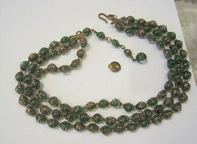 Antique Venetian Murano Glass Green With Gold Dust 3 Strand Necklace