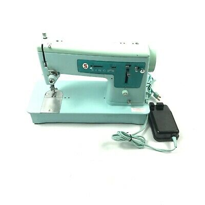Vintage 1960s Singer Model 337 Sewing Machine Turquoise Blue W/Pedal ✅ 7.B5